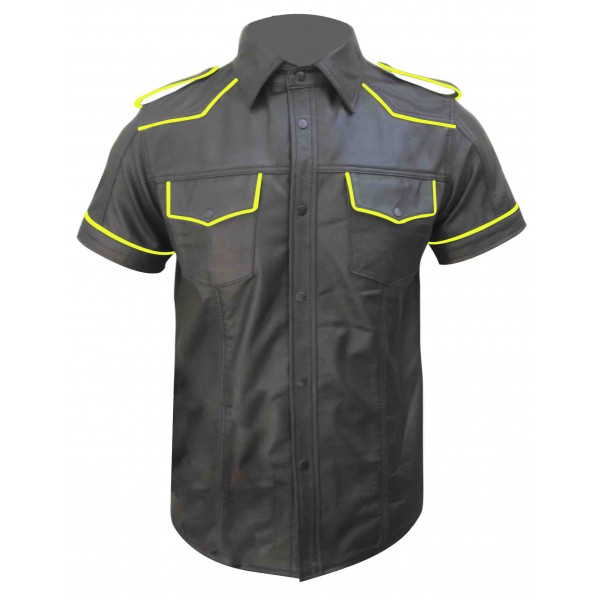Leather Shirt With Colour Piping (Custom Made To Order)