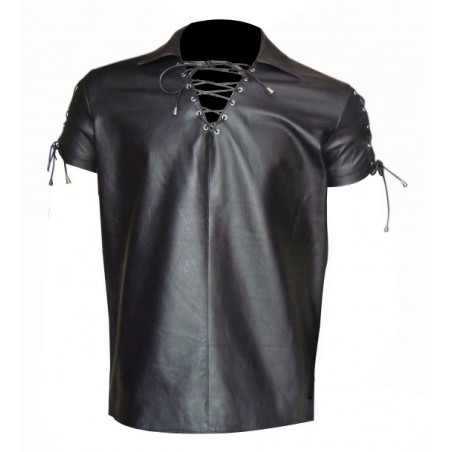 Leather Shirt With Lace-Up Style (Custom Made To Order)