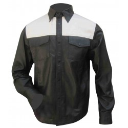 Leather Shirt in Two Tone Chest Color (Custom Made To Order)