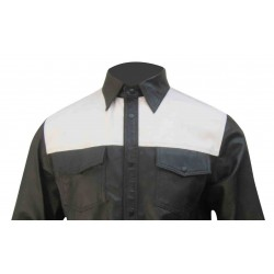 Leather Shirt in Two Tone Chest Color - Sheep Nappa - Custom Made To Order