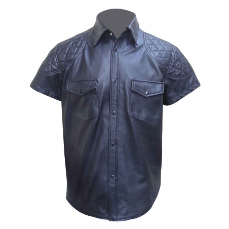 Men's Leather Shirt With Quilting Design (Custom Made To Order)