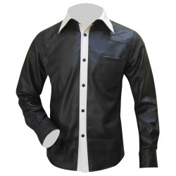 Bespoke Tailored Leather Shirt in Black & White Two Tone (Custom Made To Order)