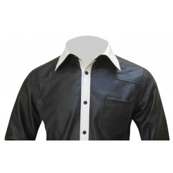 Leather Shirt With Colour Front Placket - Sheep Nappa - Custom Made To Order