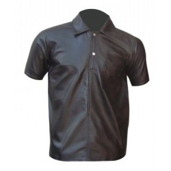 Leather Polo T Shirt Without Flap Pocket (Custom Made To Order)