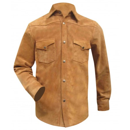 Suede Leather Shirt With Two Front Pockets (Custom Made To Order) Plus sizes welcome