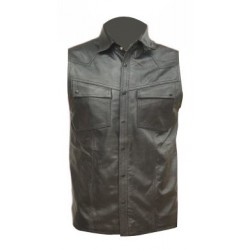 Men's Sleeveless Leather Shirt in Black