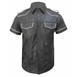 Leather Shirt With White Piping (Custom Made To Order)
