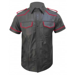 Leather Shirt With Red Piping (Custom Made To Order)