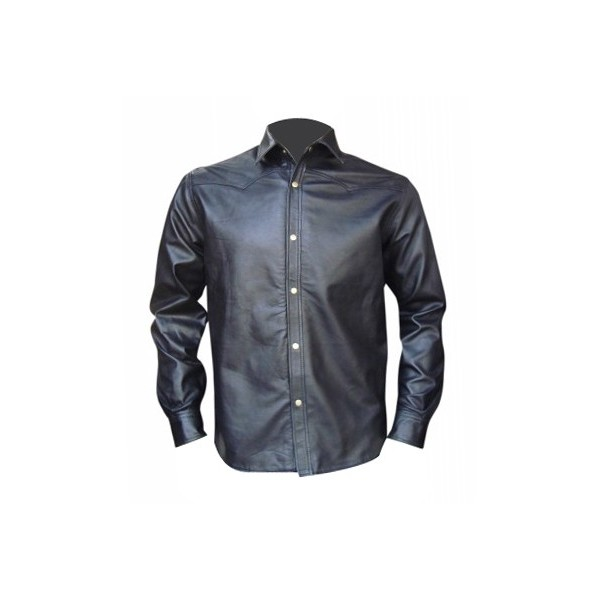 Leather Shirt in Two Tone Chest Colour - Sheep Nappa - Custom Made To Order