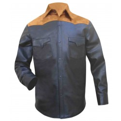Leather Shirt With Upper Suede Leather (Custom Made To Order)