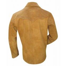 Suede Leather Shirt With Two Front Pocket - Suede Leather - Custom Made To Order