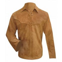 Leather Suede Camisa con codo cuero de las ovejas y del frente del cordón (por encargo ordenar)
