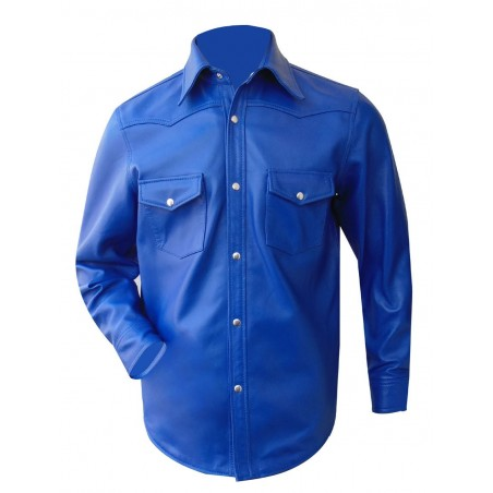 Blue Leather Long Sleeve Shirt With Pockets (Custom Made To Order)