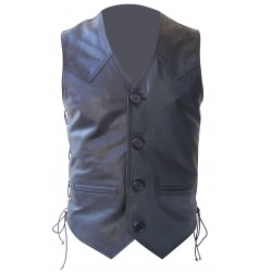 Leather Vest Coat Hunter Style with Two Front Pockets and Ties on Side
