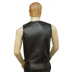Sleeveless Leather Vest Coat in Black