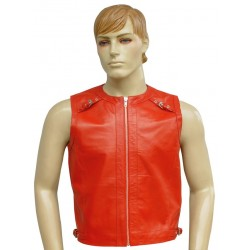 Real Sleeveless Leather Vest Coat