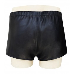 Black Leather Shorts With Front Snap Button  Custom Made To Order