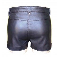 Black Hot Leather Shorts With Yellow  Colour Stripe (Custom Made To Order)