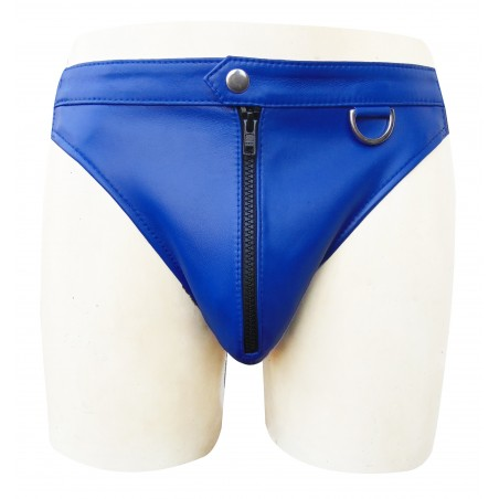 Blue Leather Briefs With Front Zipper (Custom Made To Order)