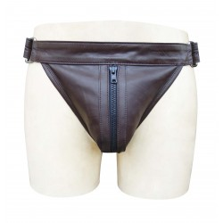 Brown Leather jockstrap With Front zipper (Custom Made To Order)